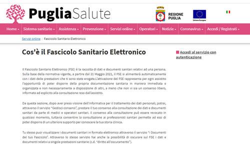 Fascicolo Sanitario Elettronico nella regione Puglia