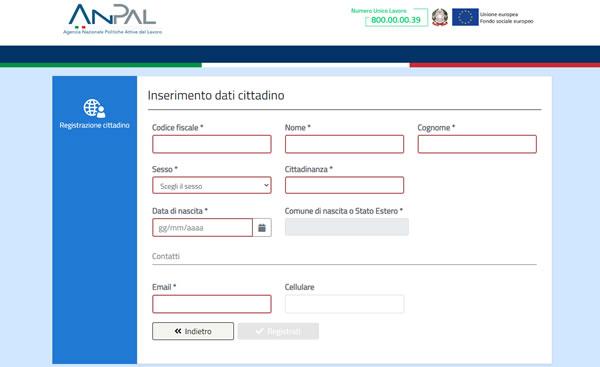 Inserimento dati cittadino sito Anpal